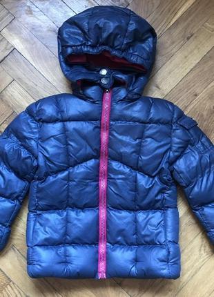 Зимняя куртка курточка пуховик синтепон синяя с розовым на девочку 98см