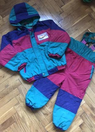Демисезонный костюм комбинезон штаны на подтяжках + куртка 5-6лет 110-116