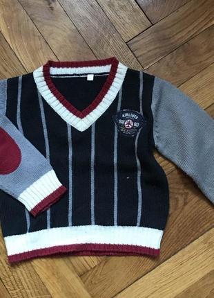 Шерстяной свитер, реглан, пуловер с воротником с налокотниками 12-24м до 92см