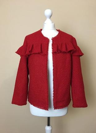 Твидовый жакет пиджак куртка с рюшем от c&a размер l/12/40.