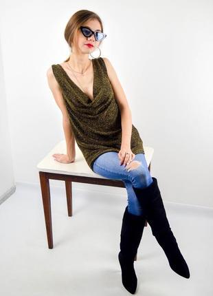 Майка с эффектом металлик и свободным воротом, блуза с металлической нитью