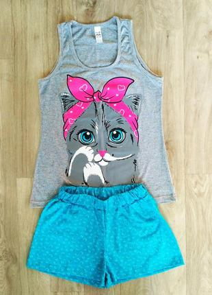 Симпатичная трикотажная пижама, костюм для дома с милым котиком, 44-46