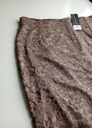 Красивейшая гипюровая юбка миди богатого дымчатого цвета