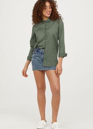Хлопковая рубашка h&m, блуза, рубаха