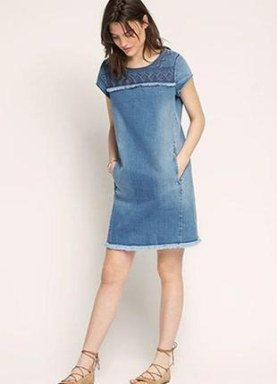 Обнова! платье деним джинс вышивка бахрома новое esprit