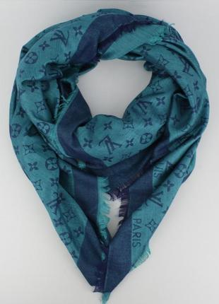 Большой кашемировый платок 7988-27 сине-голубой двусторонний, расцветки