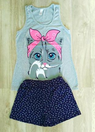Симпатичная трикотажная пижама, костюм для дома с милым котиком, 42-44