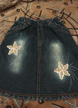 Юбка джинсовая с вышивкой и с эффектом потертости