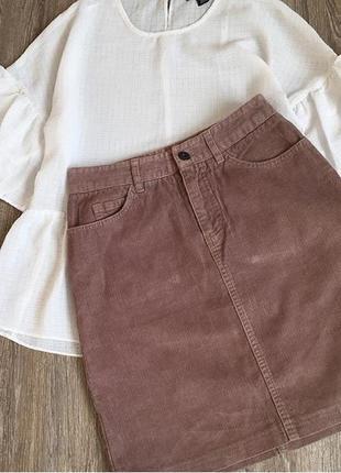 Вельветовая коричневая юбка трапеция, тренд 2018, спідниця вельветова