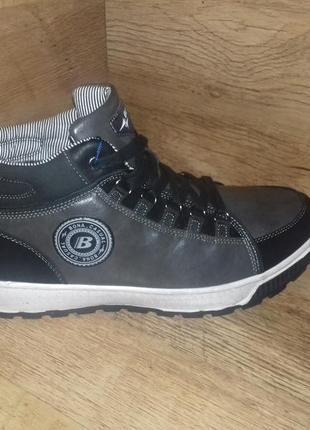 Зимние ботинки мужские bona на меху! натуральная кожа! р. 41-46 чёрные и синие