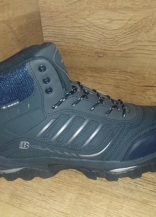 Зимние ботинки мужские bona на меху! натуральная кожа! р. 41-46 синие и чёрные
