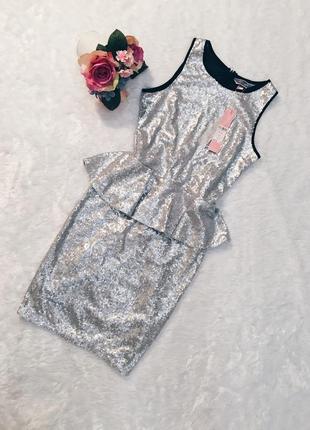 Шикарное новое вечернее платье в паетках s-m с биркой!