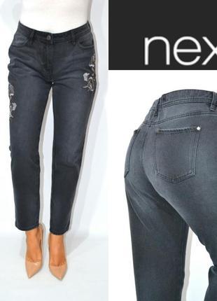 Джинсы момы вышивка высокая посадка бойфренды мом mom jeans next .