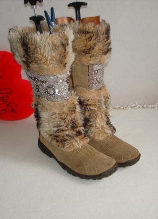 Зимние утепленные кожаные сапоги бренд tamaris