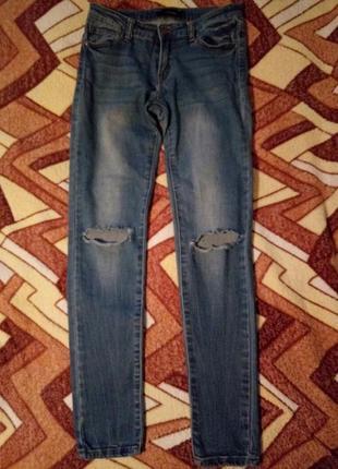 Стрейчевые джинсы tally weijl с дырками на коленях