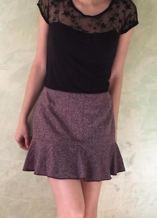 Красивая юбка c воланами , рюшами, размер s , теплая