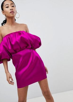Платье мини бандо asos design