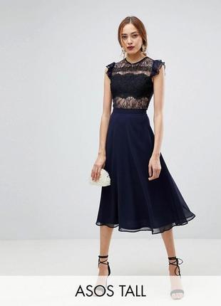 Платье миди с кружевом и оборками на рукавах asos tall