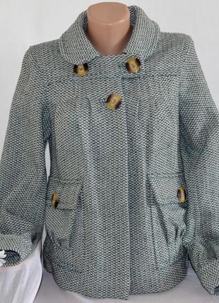 Брендовое шерстяное демисезонное пальто полупальто с карманами river island