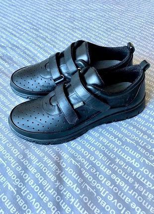 Кроссовки сникесы черные кожаные легкие на липучках без шнуровки купить цена