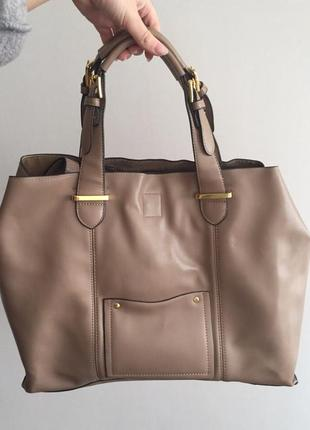 Шоппер пудрового цвета большая сумка мешок на длинной и коротких ручках