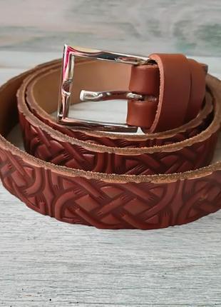 Кожаный ремень коричневый кельтский узел
