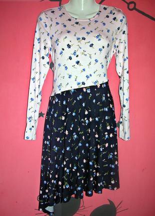 Нежное платье миди с длинными рукавами ассиметричное в цветочный принт вискоза