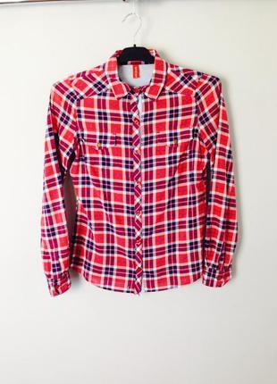Хлопковая оригинальная рубашка ostin в красную клетку