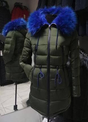 Зимняя куртка-парка хаки с синим мехом