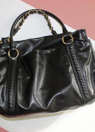 28х38см coccinelle кожаная вместительная сумка на коротких ручках