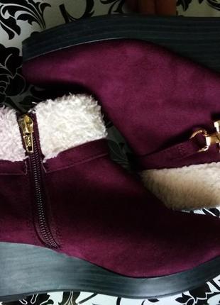 Бордовые демисезонные ботиночки на танкетке