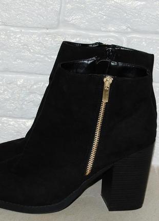 Ботинки черные 40 р-р new look толстый каблук