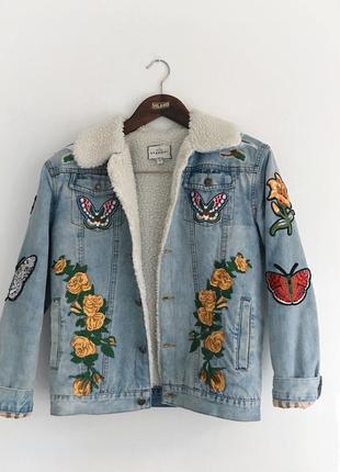 Джинсовая куртка на овчине