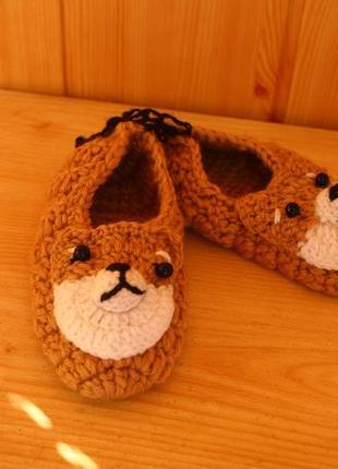 Тапочки пинетки вязаные носочки собачки