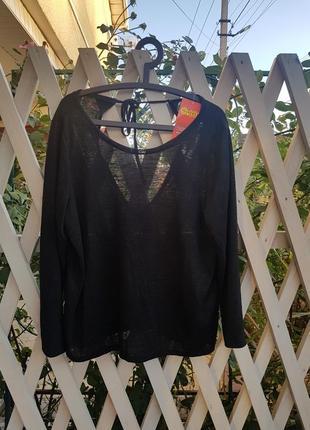 Чёрный джемпер, кофта с глубоким вырезом на спине