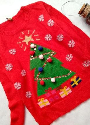 Новогодний свитер h&m, красный, шерсть альпака