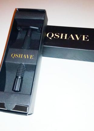 Классический станок-бабочка с удлиненной ручкой, матово-черный. qshave rd 260