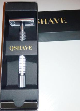 Qshave rd 239 - классический станок-бабочка для бритья с длинной ручкой, матовый