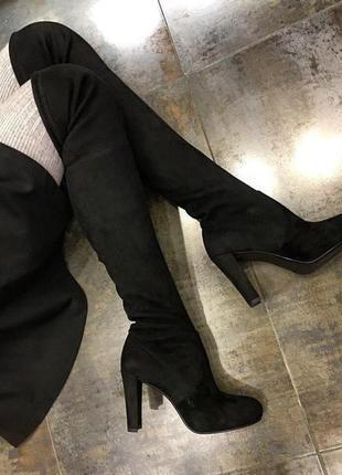 Обалденные замшевые черные ботфорты-чулок