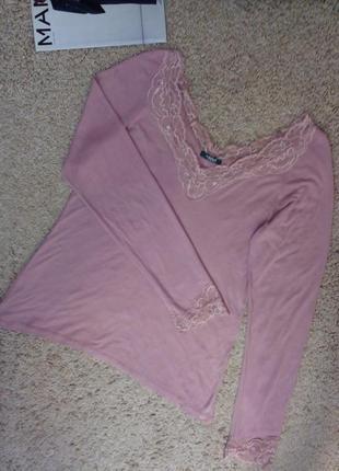 La redoute стильный трикотажный джемпер/кофточка/блузка цвета пыльной розы, с кружевом