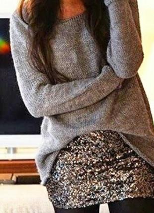 Шикарная юбка в серебристых пайетках