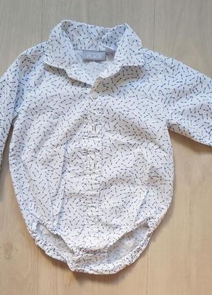 Хлопковая рубашка бодик на мальчика 6-9 мес