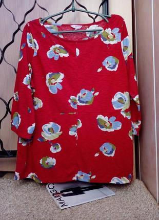 M&s per una cтильная кофточка/джемпер/блузка в цветочный принт, рукав 3/4, uk18-20