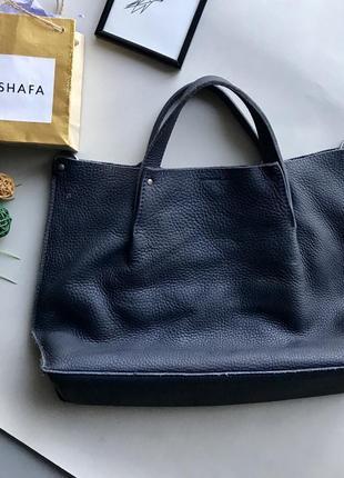 Крутая натуральная кожаная сумка ecco синего цвета / синяя сумка мешок