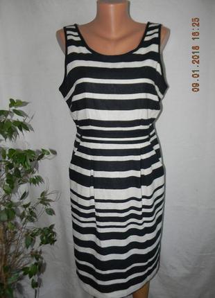 Новое платье лен в полоску m&co