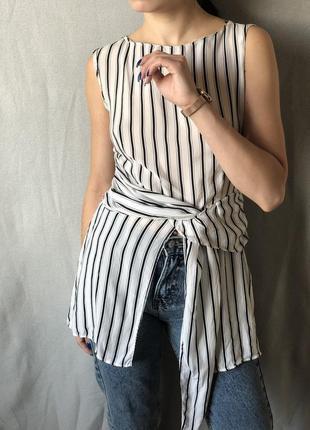 Крутая удлиненная блуза zara в полоску