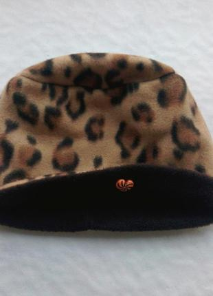 Яркая флисовая шапка цвет леопард