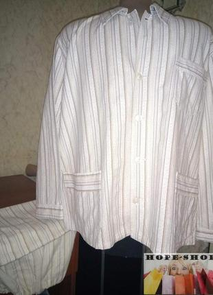 Мужская светлая полосатая пижама кофта на пуговицах с брюками
