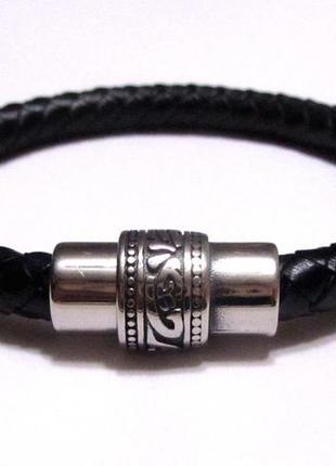 Мужской браслет из натуральной кожи, замок-магнит (из нержавеющей стали).