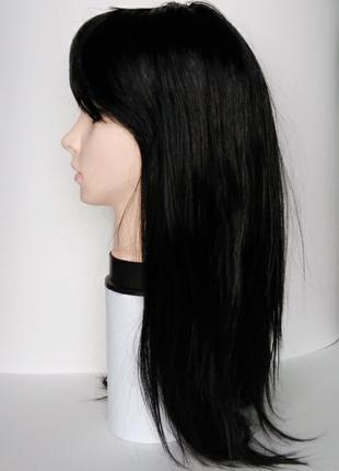 Парик черный длинный с челкой,перука